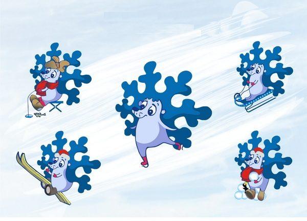 Снежинки в образе ёжиков