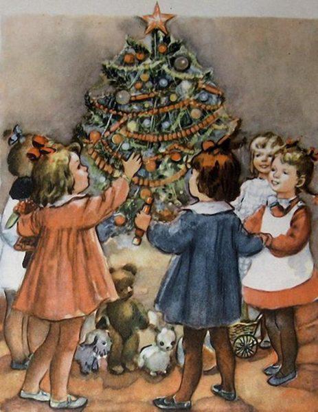 Девочки стоят вокруг новогодней ёлки
