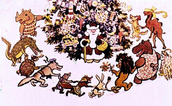 Звери водят хоровод вокруг ёлки с Дедом Морозом