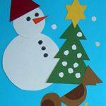Аппликация со снеговиком, ёлкой и птицей