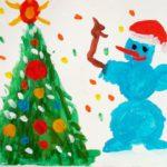 Новогодний рисунок: снеговик и ёлка