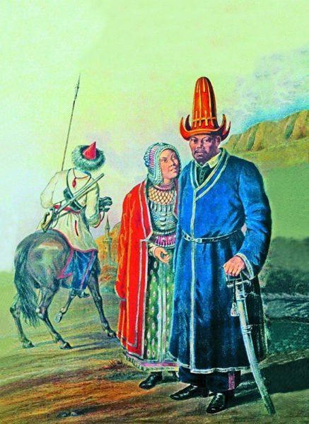 Мужчина и жещина в национальных башкирских костюмах