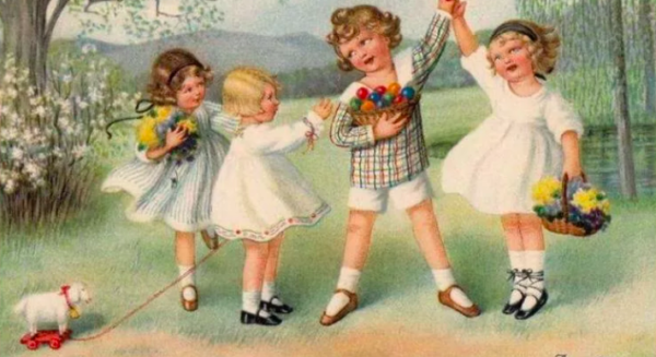 Французская винтажная открытка с изображением детей