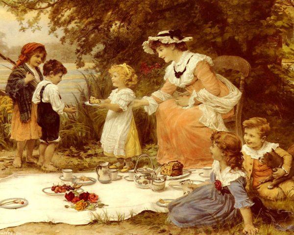 Винтажная английская открытка: дети на пикнике