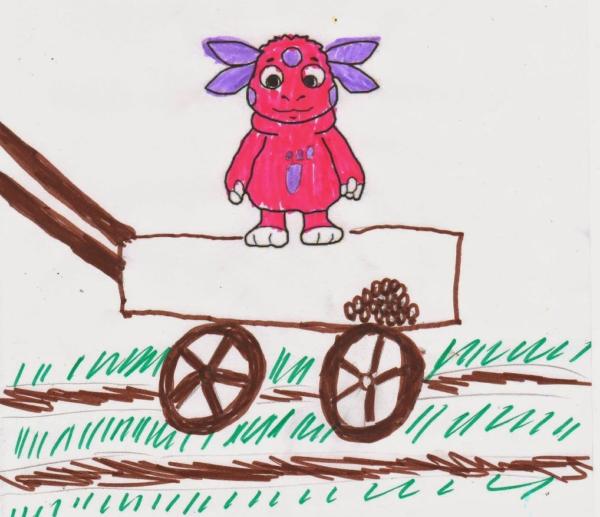 Детский рисунок: Лунтик едет на тележке