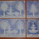 Зимний лес в технике «Набрызг»
