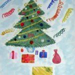 Детский рисунок: ёлка с подарками