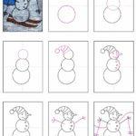 Как нарисовать снеговика по простой схеме