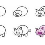 Рисуем свинью по схеме