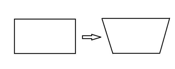 Прямоугольник преобразуется в трапецию