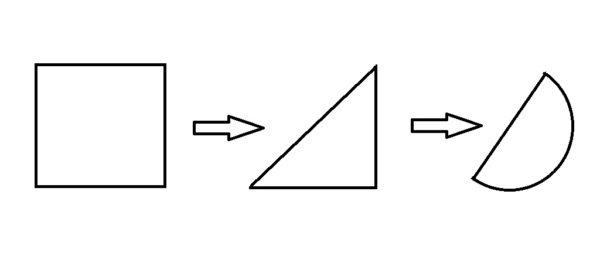 Квадрат преобразуется в треугольник, а затем в полукруг