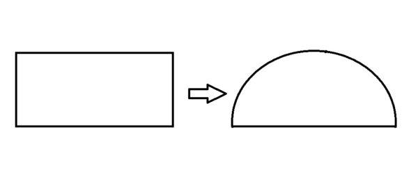 Преобразование прямоугольника в полуовал