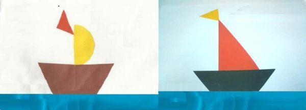 Готовые композиции — парусники, украшенные флажком
