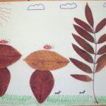 Грибная композиция из сухих листьев