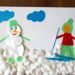 Лыжник и снеговик из ватных дисков