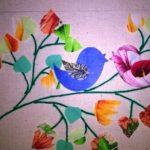 Аппликация из ткани: птичка на ветке