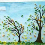 Аппликация: Осенние деревья с листьями из квиллинга