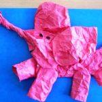 Пластическая аппликация Розовый слон