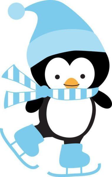 Пингвин с шарфом на коньках