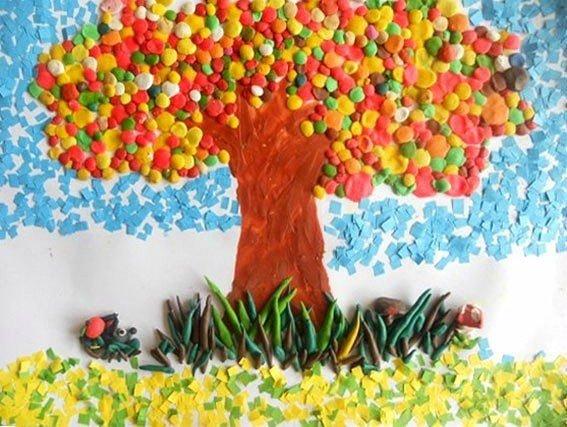 Поделка Дары осени: дерево, трава, ёжик