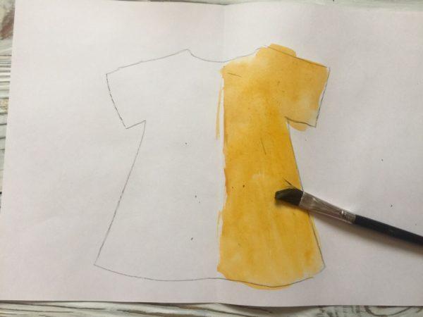 Подготовка к монотипии «Платье»