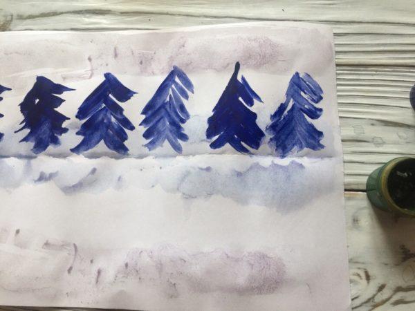 Рисование пейзажа в технике монотипия