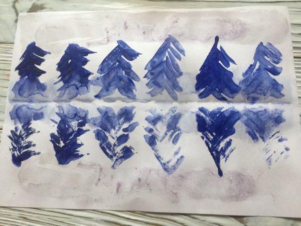 Монотипия «Зимний лес»
