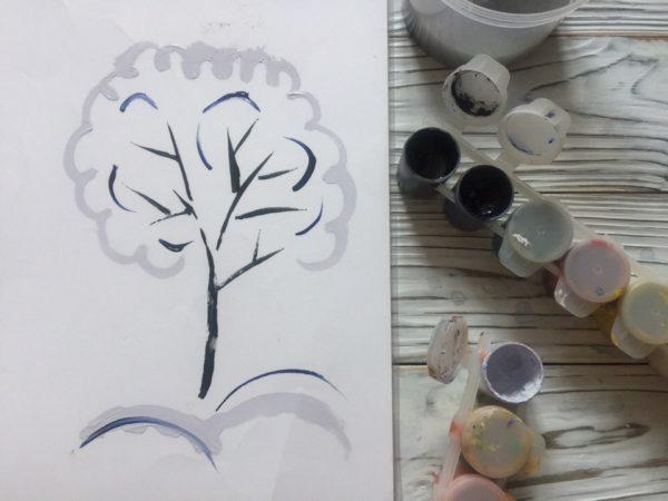 Рисунок на плёнке «Зимнее дерево»