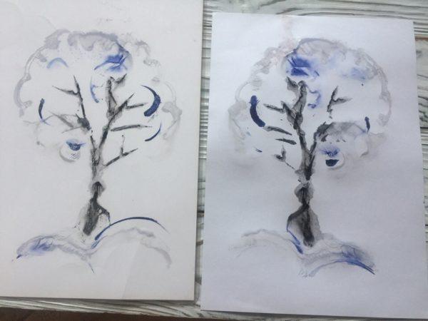 Монотипия «Зимнее дерево»