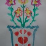 Монотипия «Цветы в вазе»