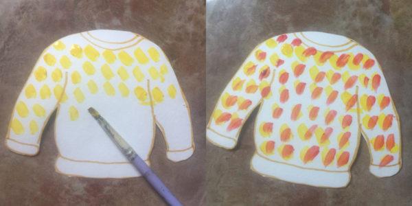 Украшение свитера методом примакивания; готовая работа