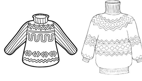 Шаблоны свитеров с узорами для раскрашивания