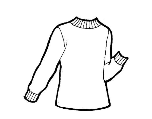 Шаблон свитера с одним согнутым рукавом