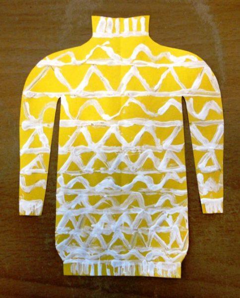 Ажурный свитер (белый узор на ярко-жёлтом фоне)