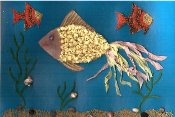 Золотая рыбка в обрывной технике