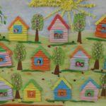 Бревенчатые домики: коллективное панно