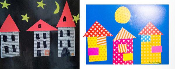 Детали домов выполнены из газеты и узорчатой цветной бумаги