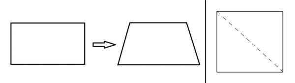 Прямоугольник преобразуется в трапецию; квадрат, разделённый по диагонали пунктиром