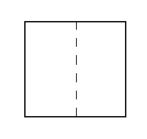 Заготовка для трубы — квадрат разделён пополам пунктиром
