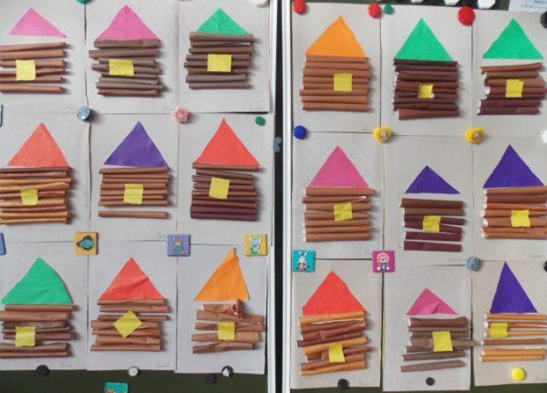 Готовые аппликации бревенчатых домиков
