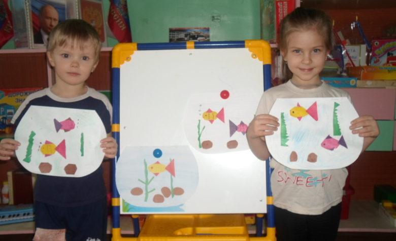 Дети с аппликациями рыбок