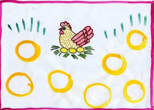 Рисунок «Яички простые и золотые»