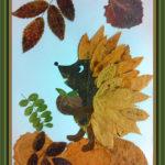 Аппликация ёжика из листьев