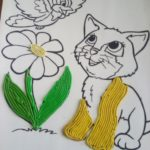 Кошка и цветок из пластилиновых жгутиков