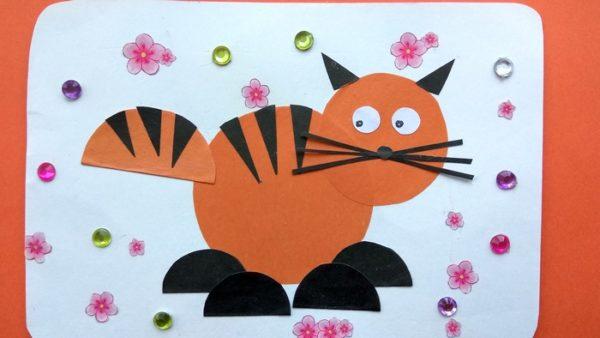 Аппликация рыжего кота из бумаги