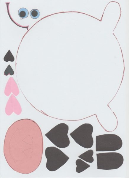 Шаблон коровы из цветной бумаги