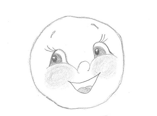 Рисунок простым карандашом: Колобок