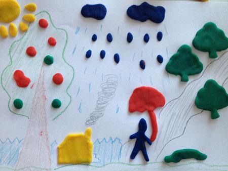 Рисунок с элементами лепки «Человек под зонтом»