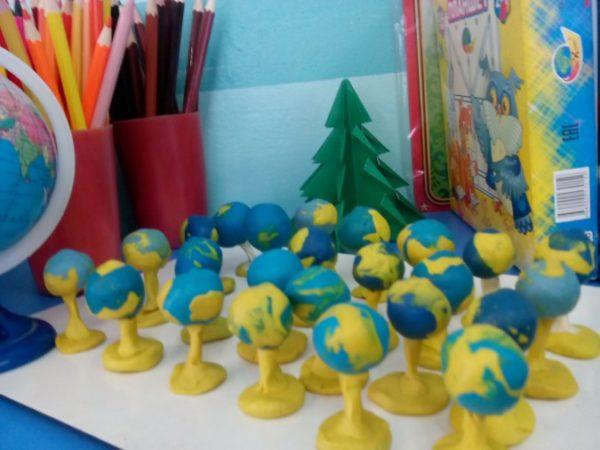 Глобусы из пластилина