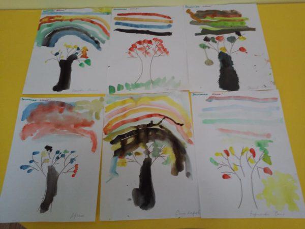 Детские рисунки Дерево и радуга